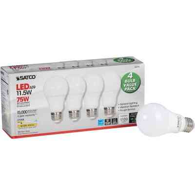Satco 75W Equivalent Warm White A19 Medium LED Light Bulb (4-Pack)