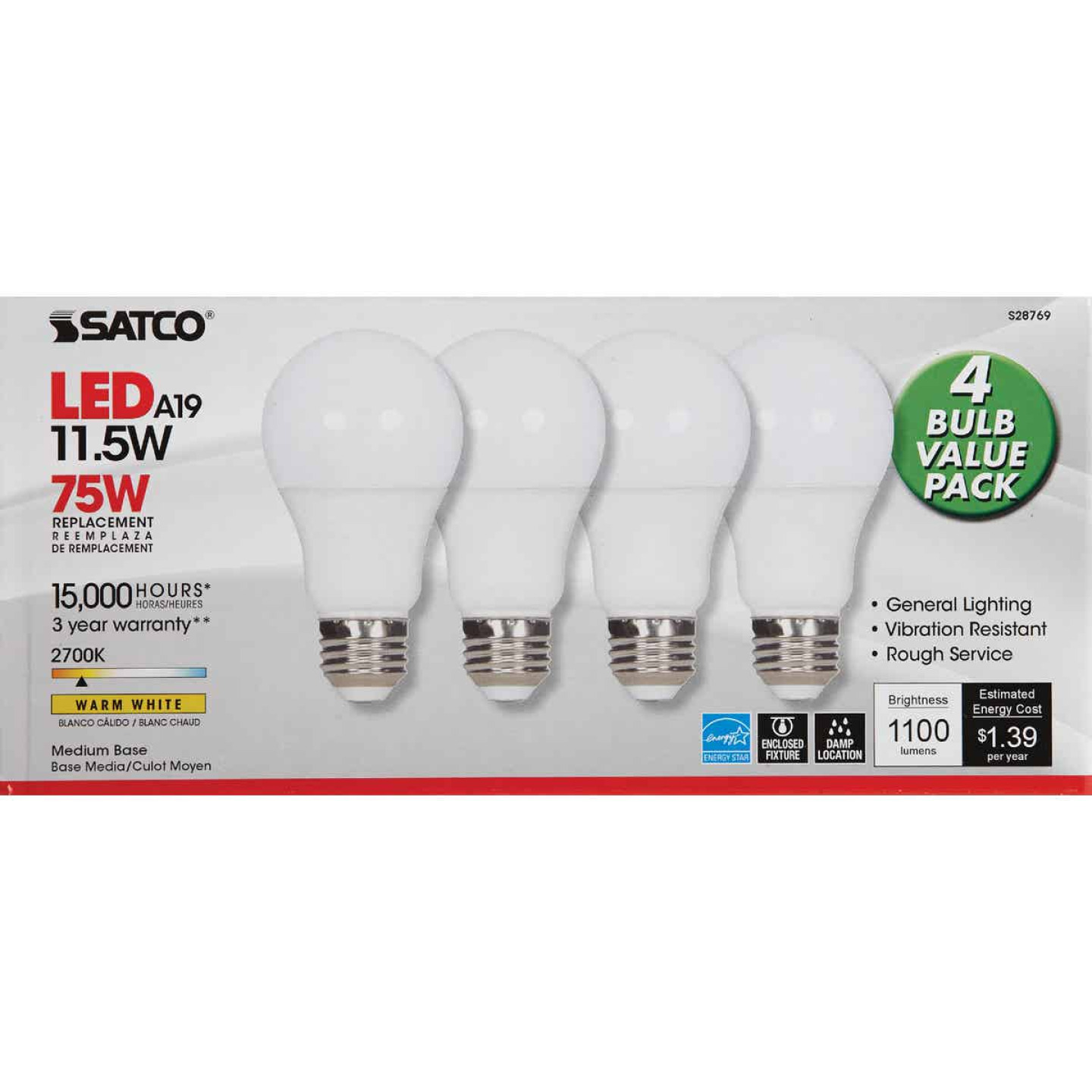 Satco 75W Equivalent Warm White A19 Medium LED Light Bulb (4-Pack) Image 2
