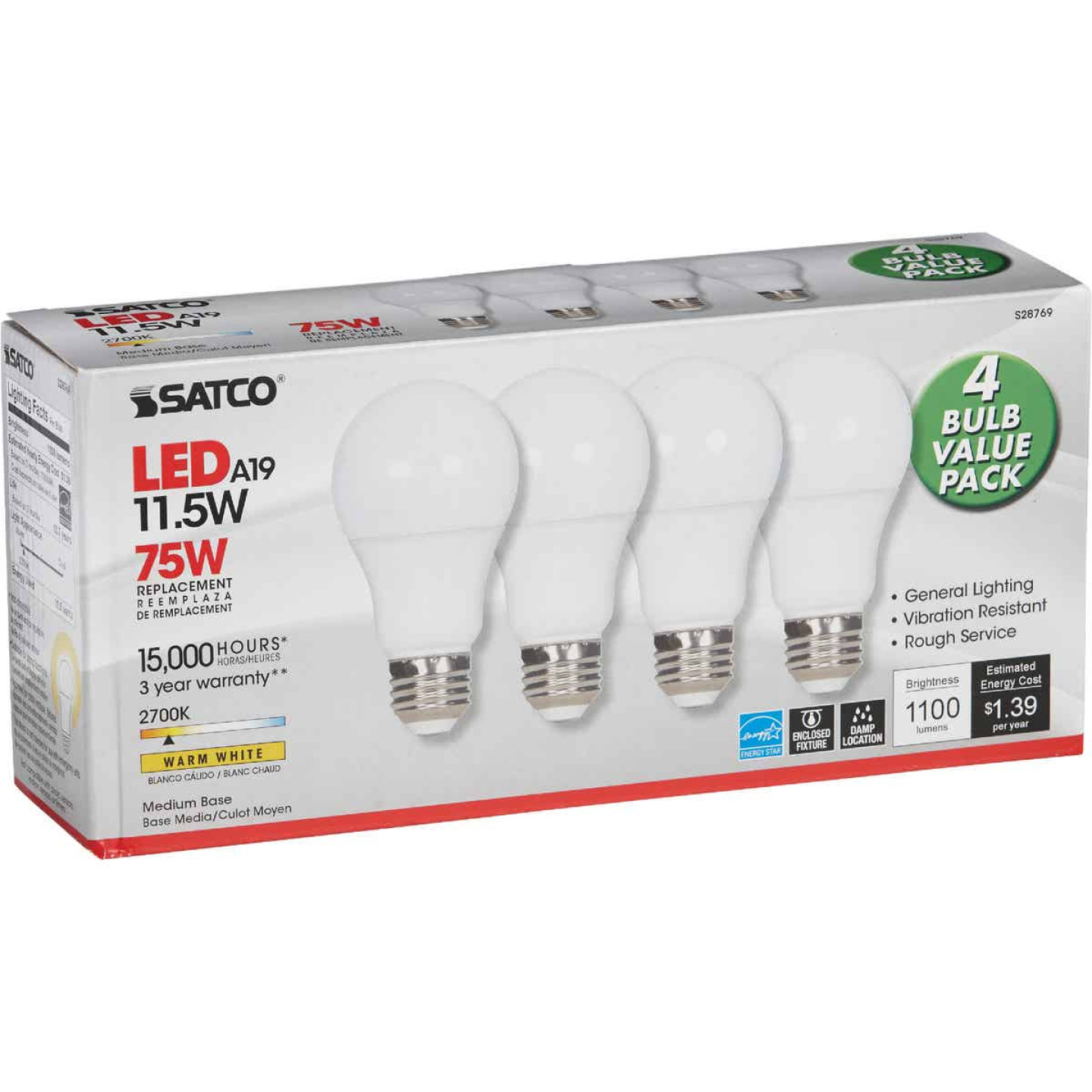 Satco 75W Equivalent Warm White A19 Medium LED Light Bulb (4-Pack) Image 4