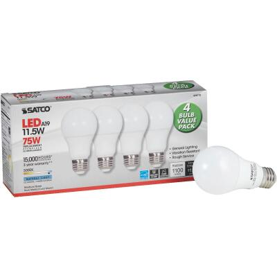 Satco 75W Equivalent Natural Light A19 Medium LED Light Bulb (4-Pack)