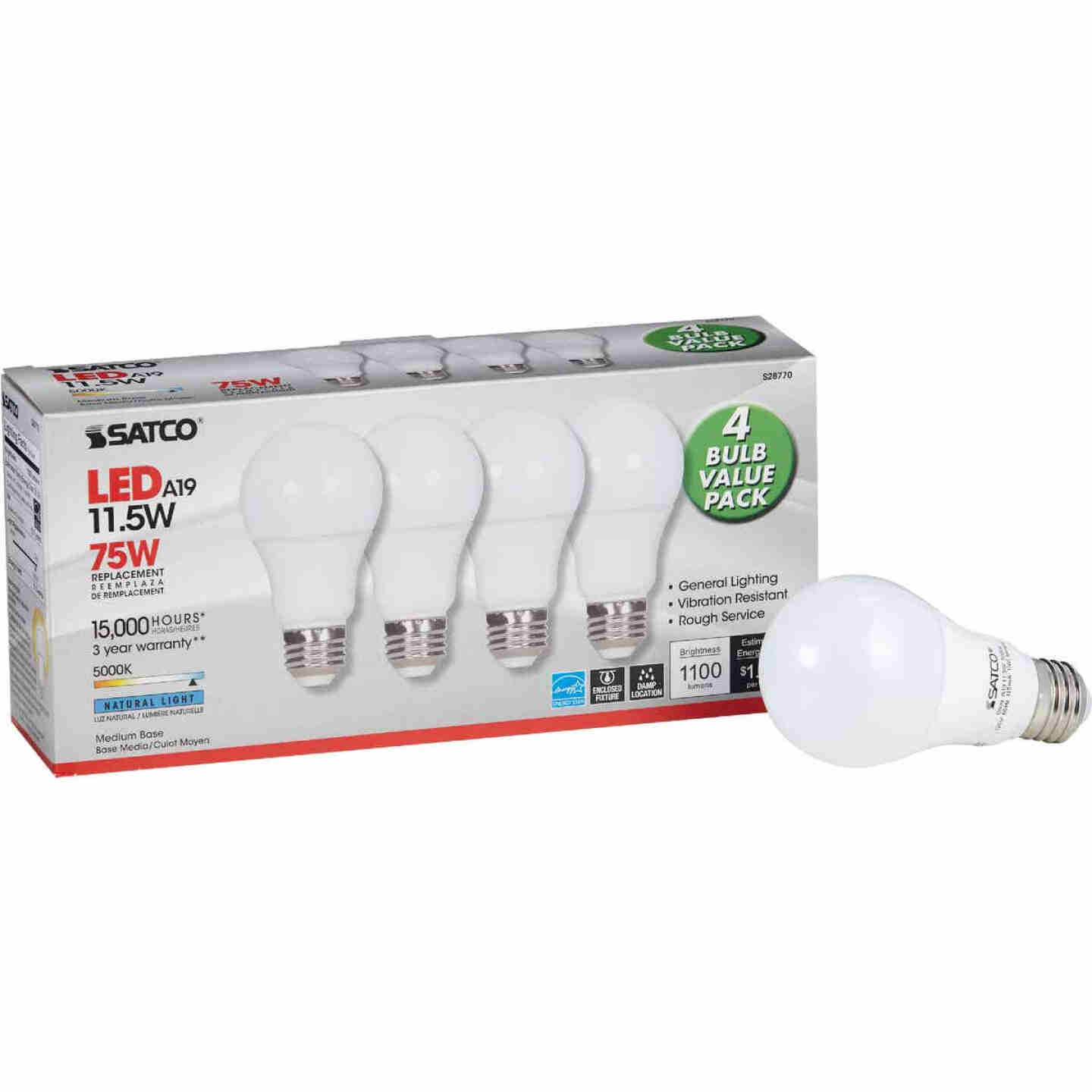 Satco 75W Equivalent Natural Light A19 Medium LED Light Bulb (4-Pack) Image 1