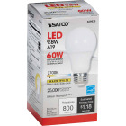 Satco 60W Equivalent Warm White A19 Medium Dimmable LED Light Bulb Image 4