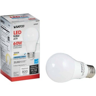 Satco 60W Equivalent Natural Light A19 Medium Dimmable LED Light Bulb
