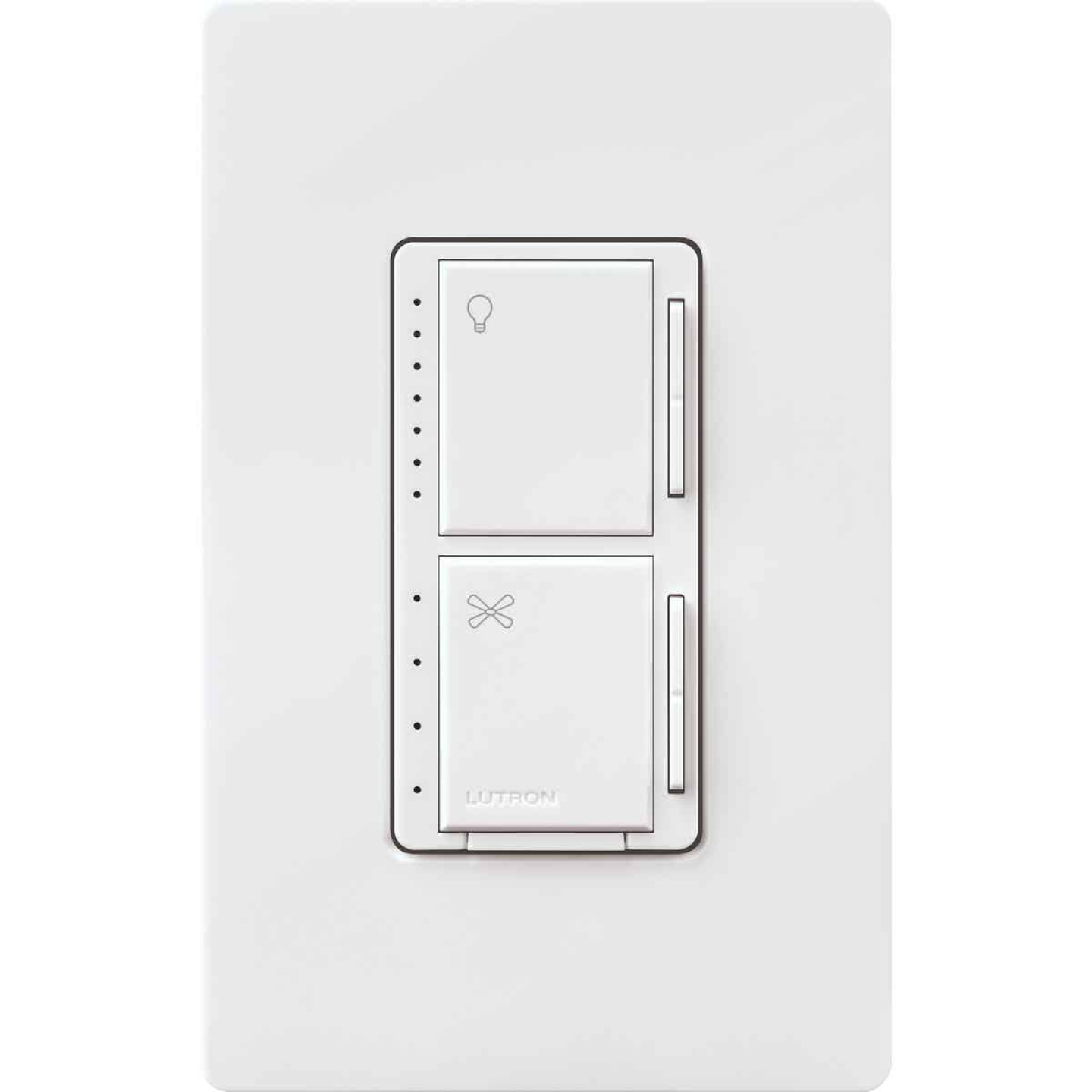 Lutron Maestro White Dimmer & Fan Control Switch Image 1
