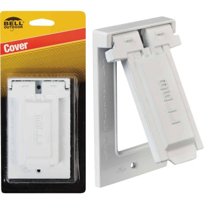 Bell Single Gang Vertical Mount Die-Cast Metal White Weatherproof GFCI Outdoor Outlet Cover