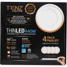 Liteline Trenz ThinLED 4 In. New Construction/Remodel IC Rated White 680 Lm. 4000K Recessed Light Kit (4-Pack) Image 2