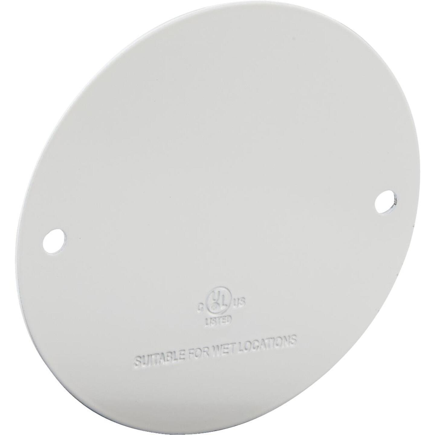 Bell Single Gang Round Die-Cast Metal White Blank Outdoor Box Cover, Shrink Wrapped Image 1