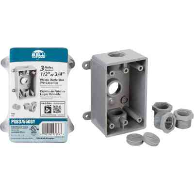 Bell Single Gang 1/2 In.,3/4 In. 3-Outlet Gray PVC Weatherproof Outdoor Outlet Box