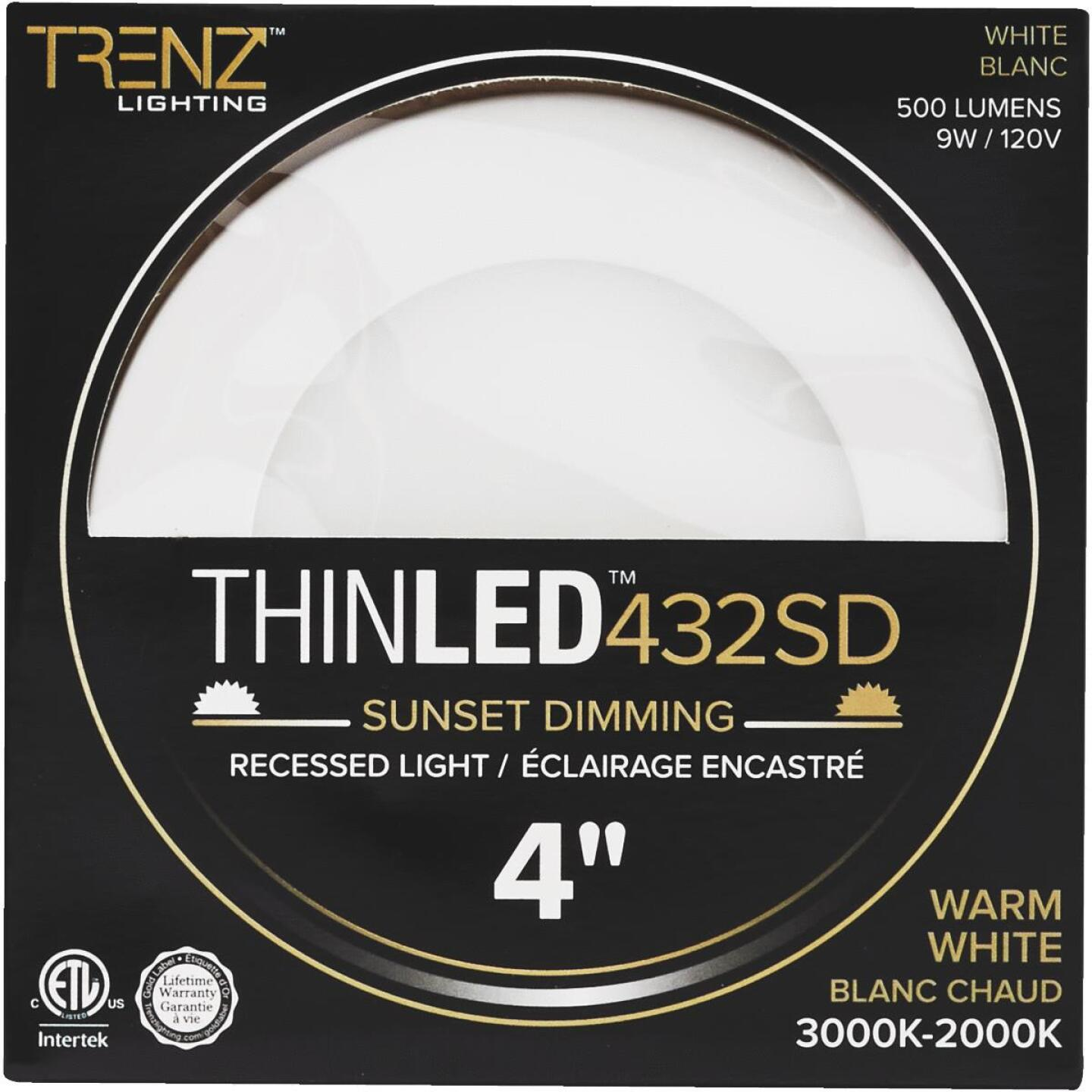 Liteline Trenz ThinLED 4 In. New Construction/Remodel IC White 500 Lm. Sunset Dimming Recessed Light Kit Image 2