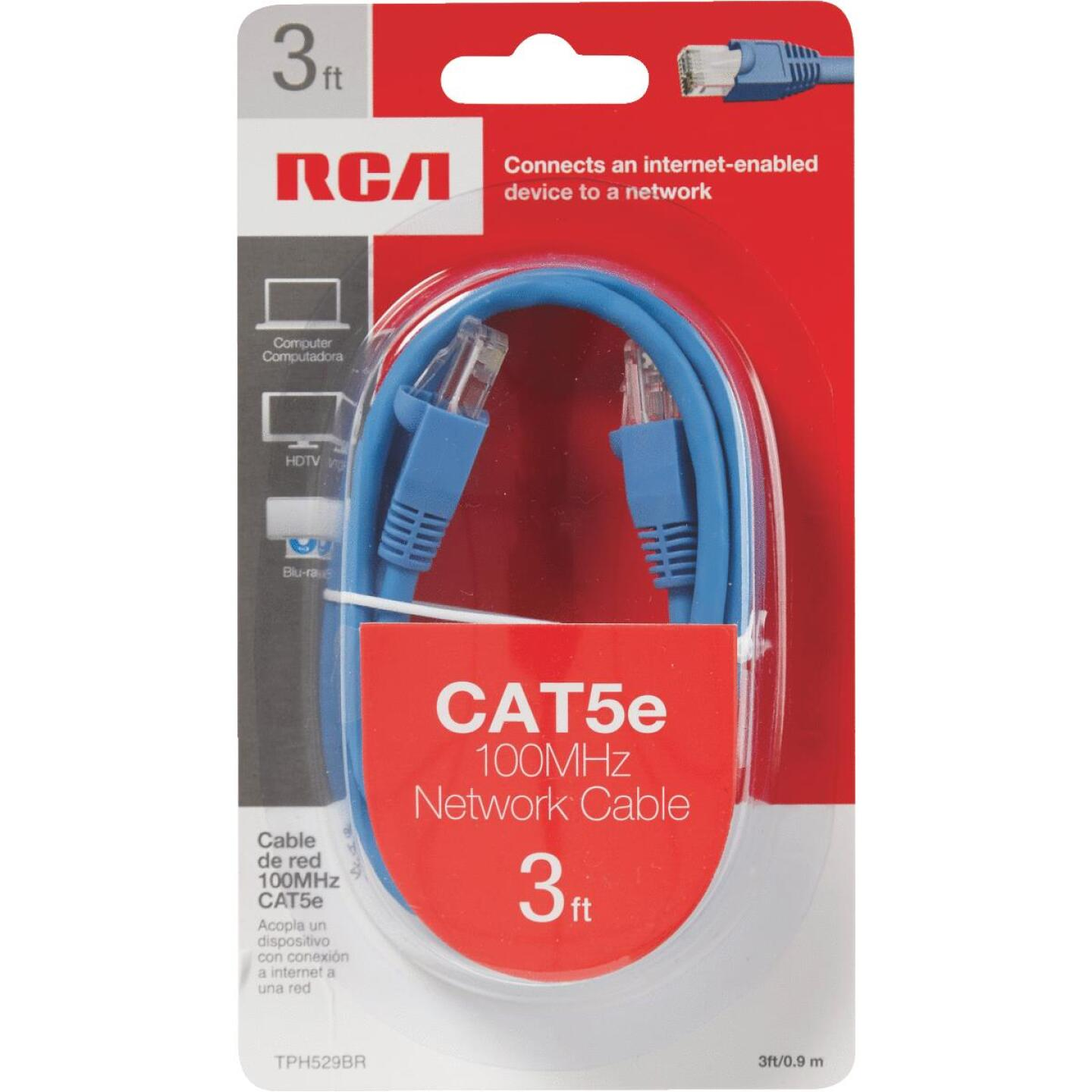RCA 3 Ft. CAT-5 Blue Network Cable Image 2