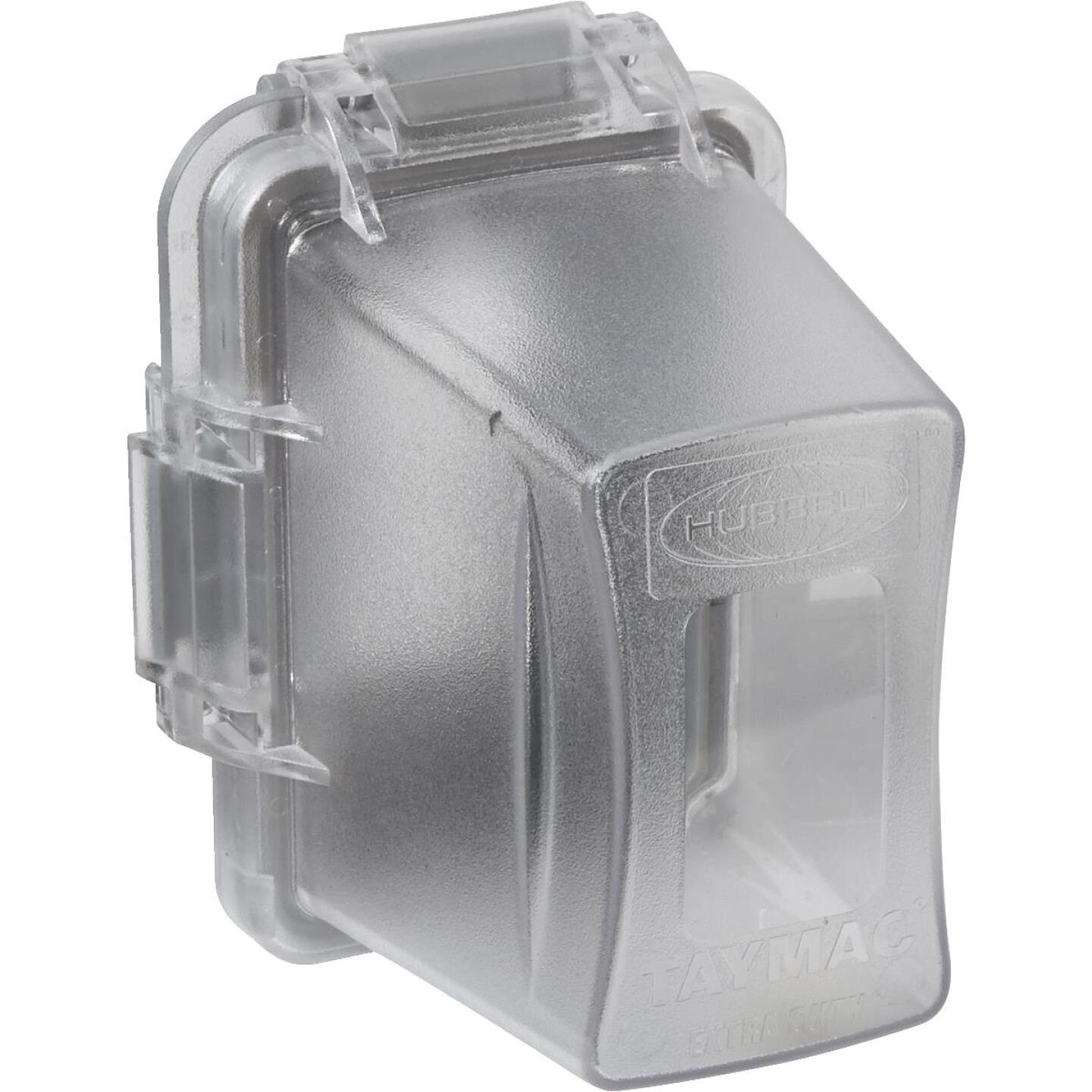 TayMac Extra Duty Single Gang Vertical/Horizontal Mount Polycarbonate Clear Deep In-Use Outdoor Outlet Cover Image 1