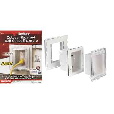 TayMac White Vertical/Horizontal Non-Metallic Recessed Outdoor Outlet Kit