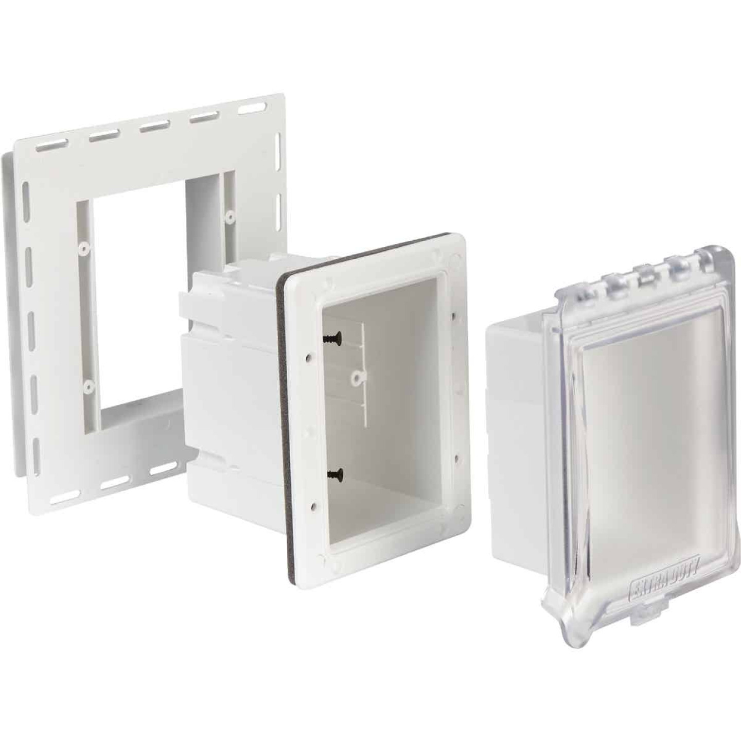TayMac White Vertical/Horizontal Non-Metallic Recessed Outdoor Outlet Kit Image 3
