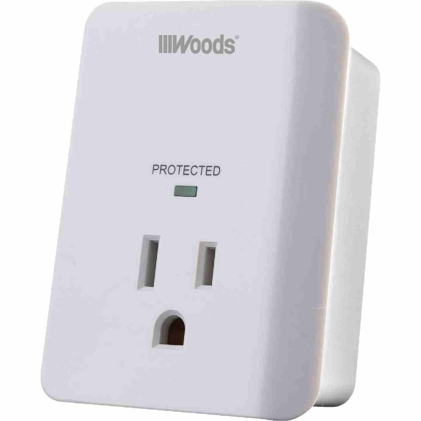 Woods 1-Outlet 15A White Surge Tap Appliance Alarm Image 1