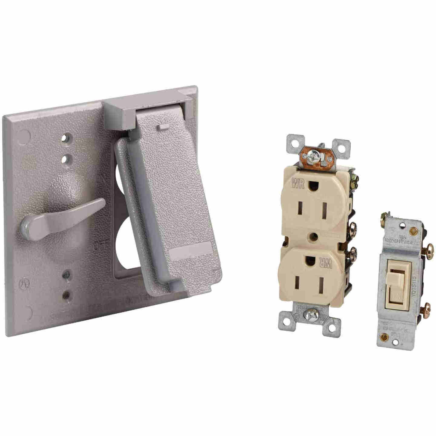 Bell 2-Gang Vertical Mount Die-Cast Metal Gray Outdoor Outlet Cover Image 1