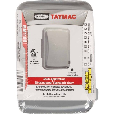 TayMac Single Gang Retangular Polycarbonate Gray Weatherproof Outdoor Box Flip Cover