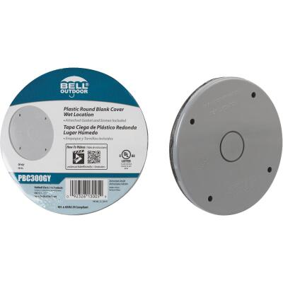 Bell Single Gang Blank Round Polycarbonate Gray Weatherproof Outdoor Box Cover