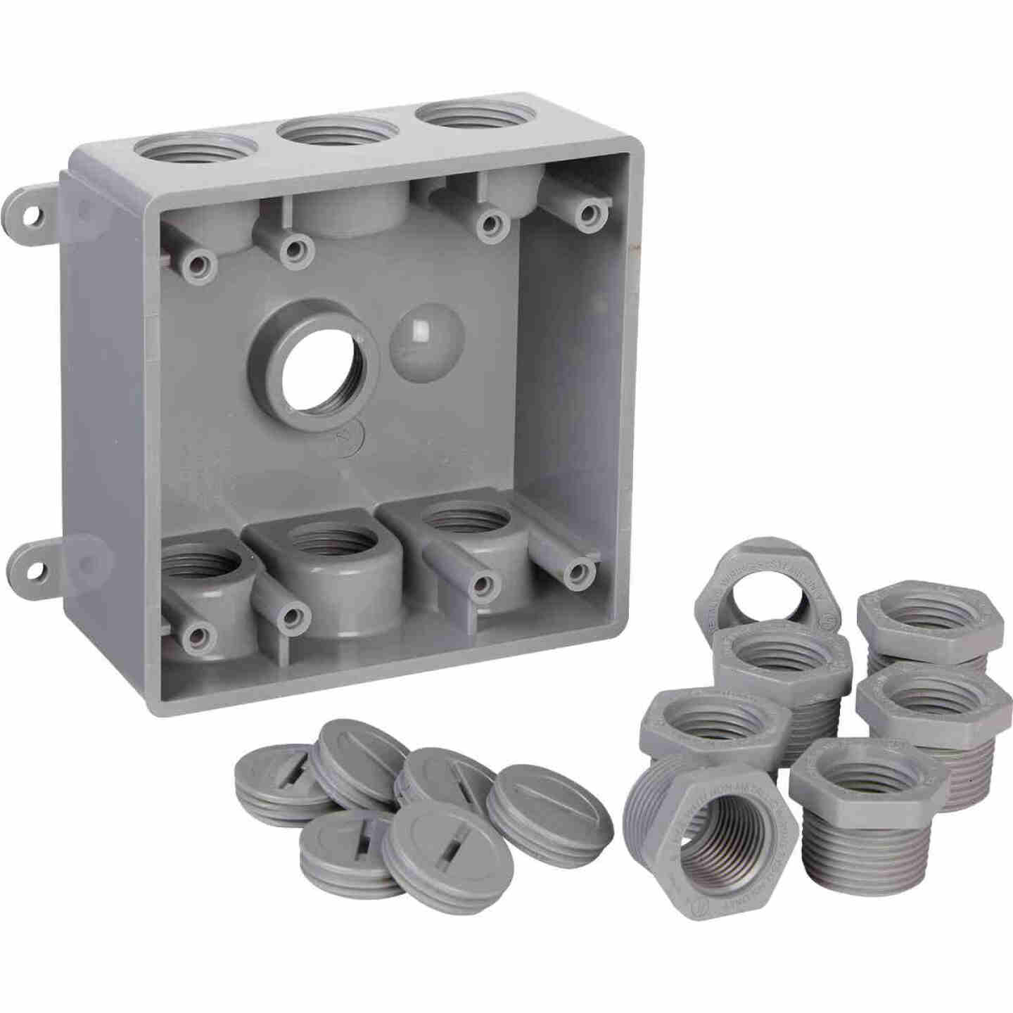 Bell 2-Gang 1/2 In.,3/4 In. 7-Outlet Gray PVC Weatherproof Outdoor Outlet Box Image 3