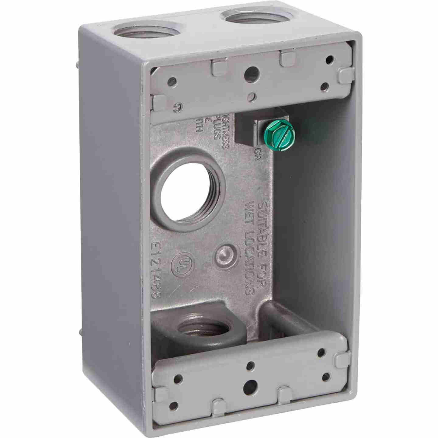 Bell Single Gang 1/2 In. 4-Outlet Gray Weatherproof Die-Cast Aluminum Outdoor Outlet Box Image 3