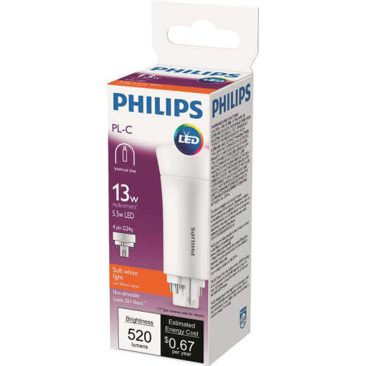 Philips 13W Equivalent Soft White PL-C 4-Pin Vertical Orientation LED Tube Light Bulb