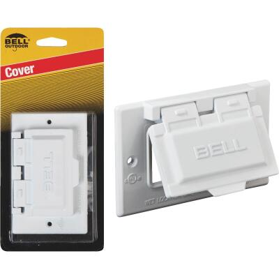 Bell Single Gang Horizontal GFCI Aluminum White Weatherproof Outdoor Electrical Cover