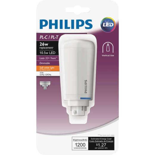 Philips 26W Equivalent Soft White PL-C/T 4-Pin Vertical Orientation LED Tube Light Bulb