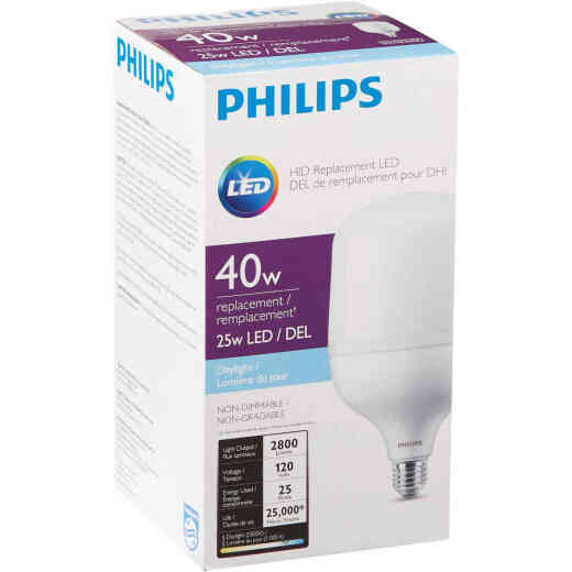 Philips 25W Frosted T-Shape Medium Base LED High-Intensity Replacement Light Bulb, 150W Incandescent Equivalent