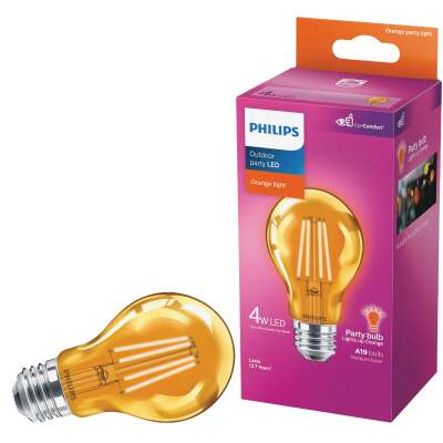 Philips Orange A19 Medium 4W Indoor/Outdoor LED Decorative Party Light Bulb