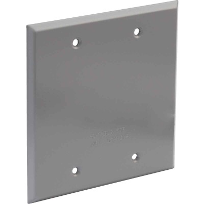 Bell 2-Gang Rectangular Aluminum Gray Blank Weatherproof Outdoor Box Cover