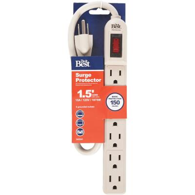 Do it 6-Outlet 150J Gray Grounded Surge Protector Strip with 1-1/2 Ft. Cord