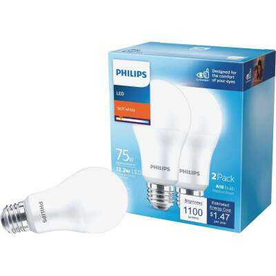Philips 75W Equivalent Soft White A21 Medium LED Light Bulb (2-Pack)