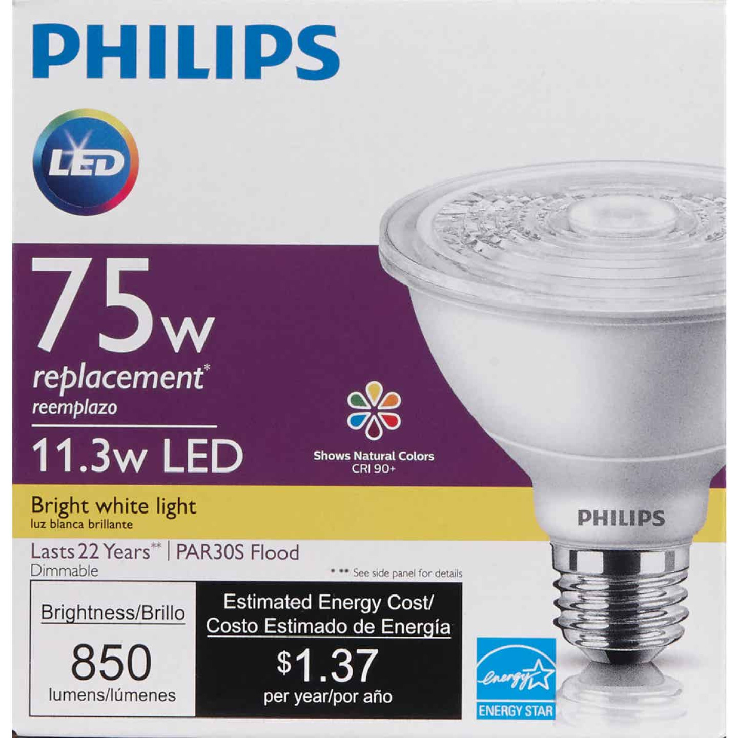 Philips 75W Equivalent Bright White PAR30 Short Neck Medium Dimmable LED Floodlight Light Bulb with 25 Deg. Beam Image 2