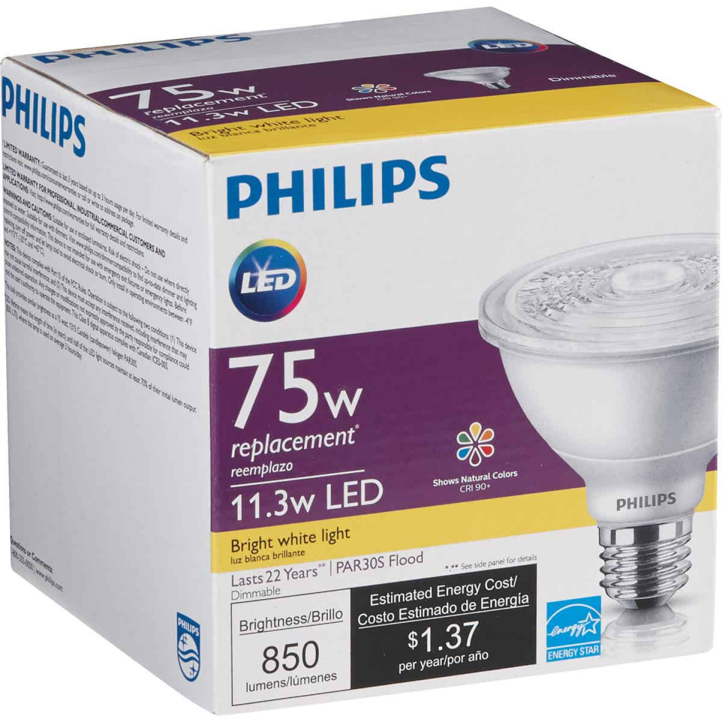 Philips 75W Equivalent Bright White PAR30 Short Neck Medium Dimmable LED Floodlight Light Bulb with 25 Deg. Beam Image 4