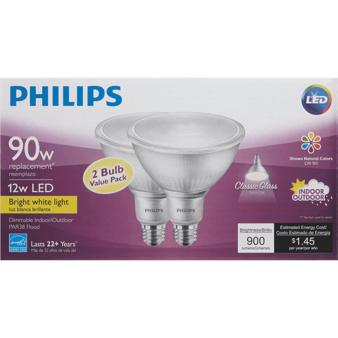 Philips 90W Equivalent Bright White PAR38 Medium Indoor/Outdoor LED Floodlight Light Bulb (2-Pack) Image 3