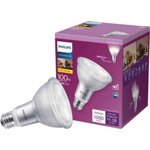 Philips 100W Equivalent Bright White PAR30L Medium Bright White Dimmable LED Floodlight Bulb