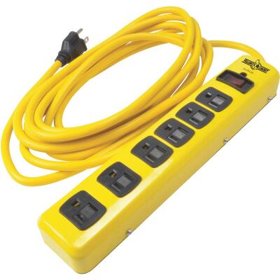 Yellow Jacket 6-Outlet 1050J Hi-Vis Yellow Surge Protector Strip with 15 Ft. Cord