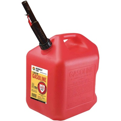 Midwest Can 5 Gal. Plastic Auto Shut Off Gasoline Fuel Can, Red