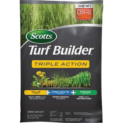 Scotts Turf Builder Triple Action 20 Lb. 4000 Sq. Ft. Lawn Fertilizer with Weed Killer