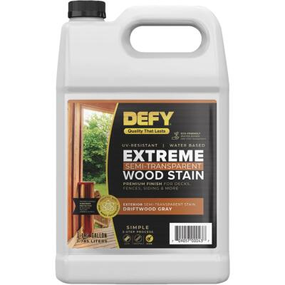 DEFY Extreme Semi-Transparent Exterior Wood Stain, Driftwood Gray, 1 Gal. Bottle