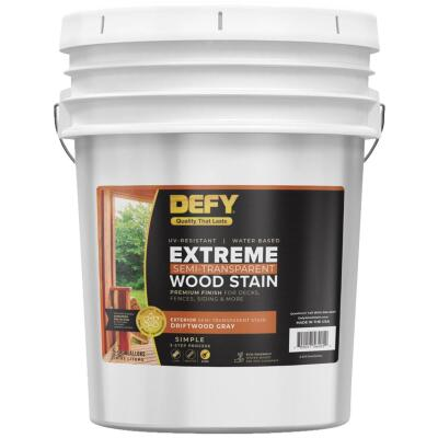 DEFY Extreme Semi-Transparent Exterior Wood Stain, Driftwood Gray, 5 Gal.