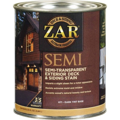 ZAR Semi-Transparent Exterior Deck & Siding Stain, Dark Tint Base, 1 Qt.