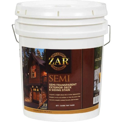 ZAR Semi-Transparent Exterior Deck & Siding Stain, Dark Tint Base, 5 Gal.