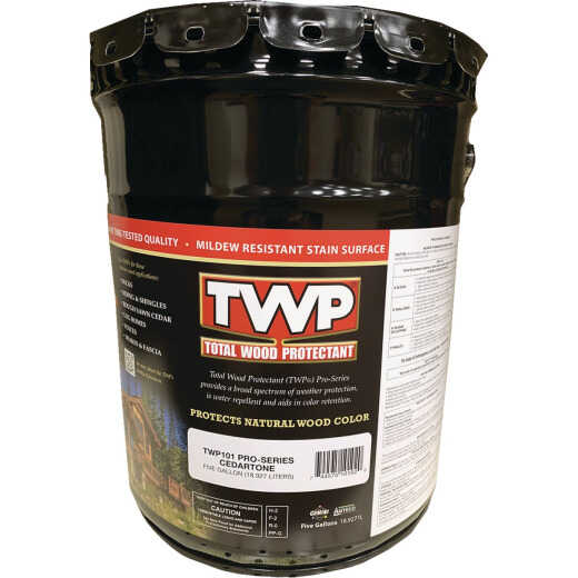 TWP100 Pro Series Semi-Transparent Wood Protectant Deck Stain, Cedartone, 5 Gal.