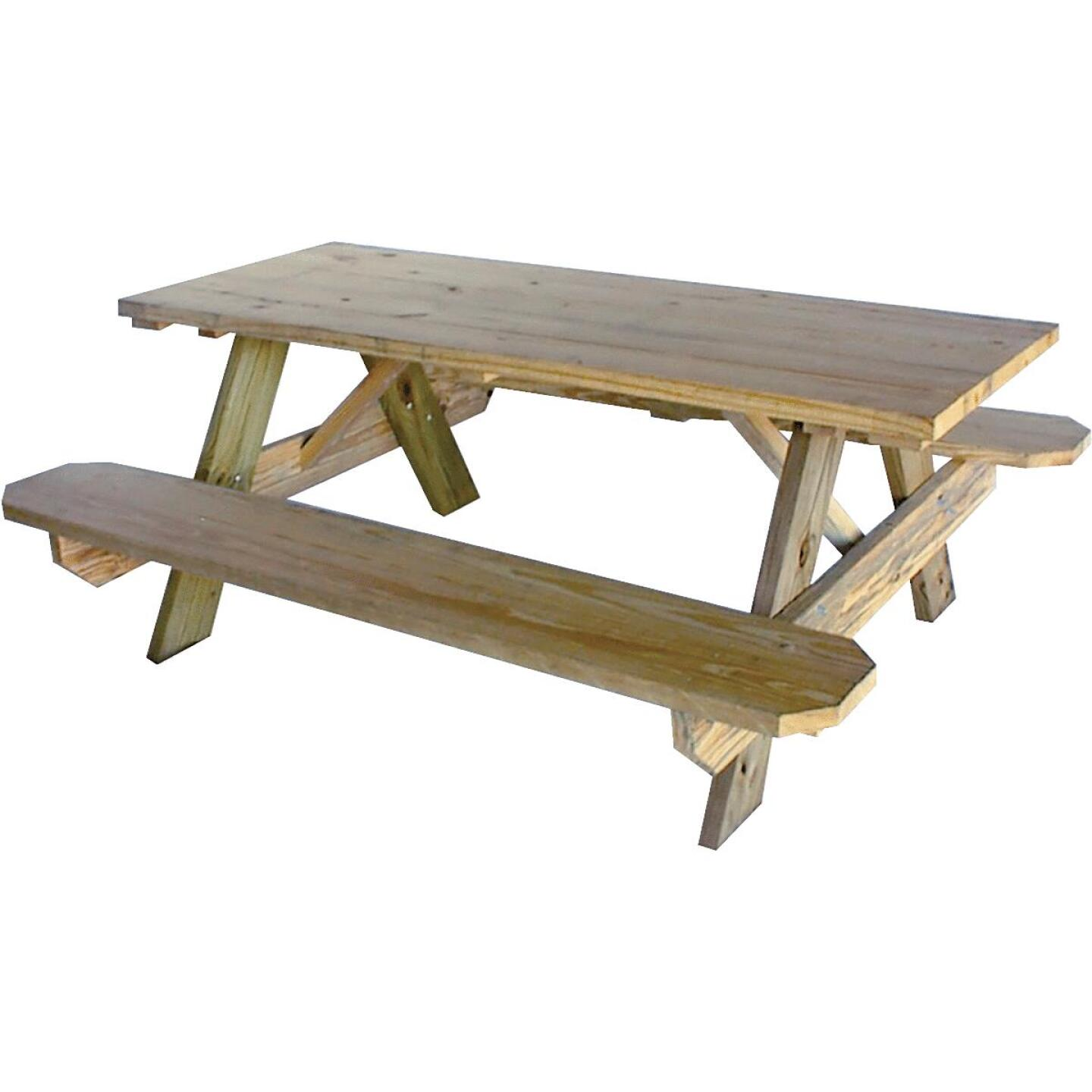 Outdoor Essentials 6 Ft. Pressure-Treated Wood Picnic Table with Benches Image 1