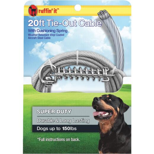 Westminster Pet Ruffin' it Super-Duty Extra Large Dog Tie-Out Cable, 20 Ft.