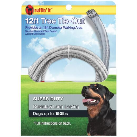 Westminster Pet Ruffin' it Tree Tie-Out Cable For Extra Large Dogs, 12 Ft.