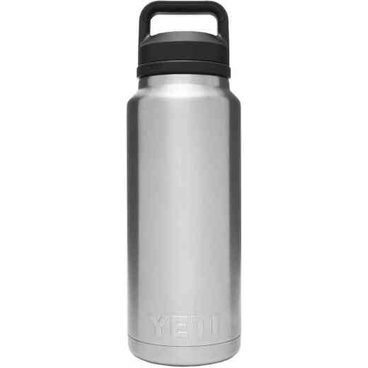 Yeti Rambler 36 Oz. Silver Stainless Steel Insulated Vacuum Bottle with Chug Cap