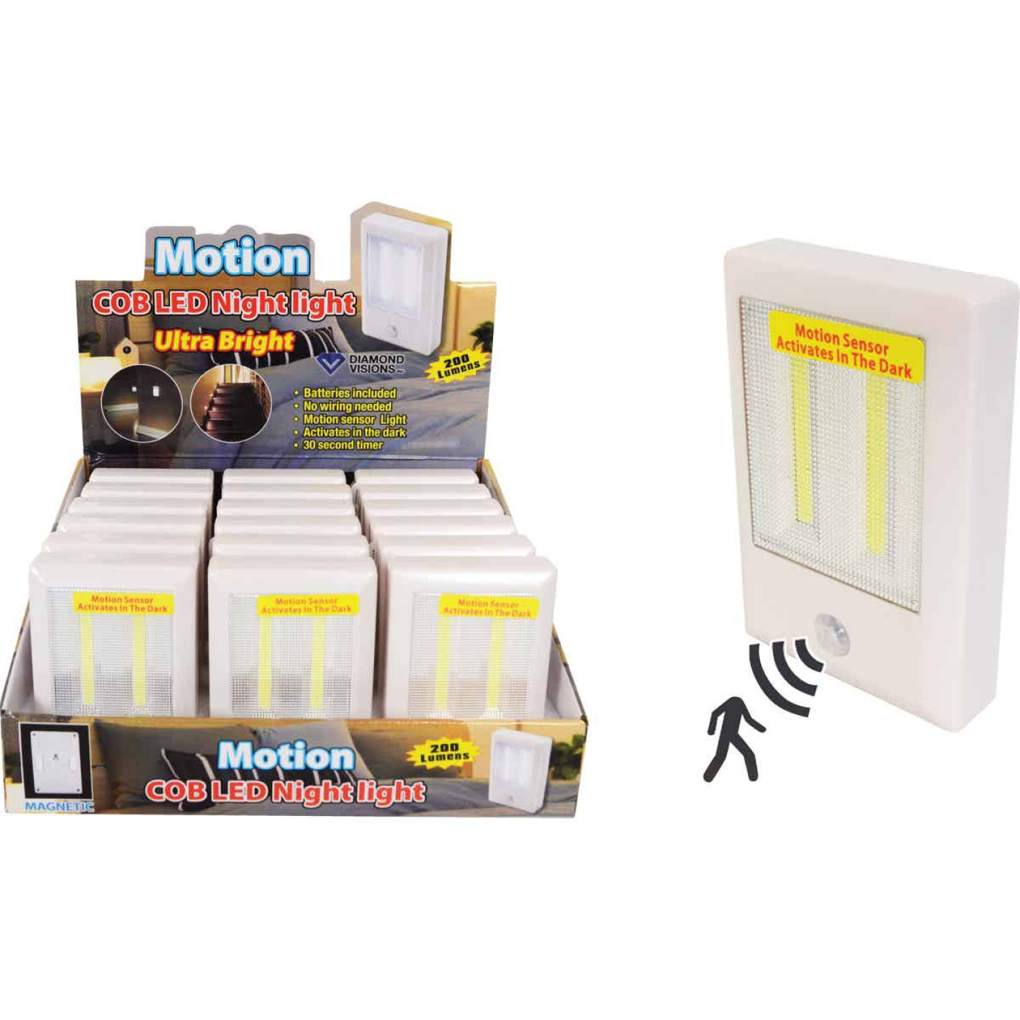 Diamond Visions White Battery Operated Motion Activated COB LED Night Light Image 1